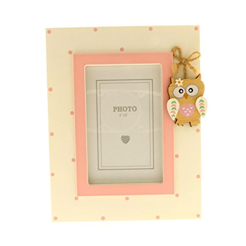 Subito disponibile cornice portafoto rosa legno con gufo gufetto battesimo bomoniera bambin