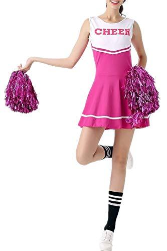 Fadirew–Disfraz de animadora de instituto, estilo High School Musical, para Halloween, en 6colores, mujer, rosa, Talla única