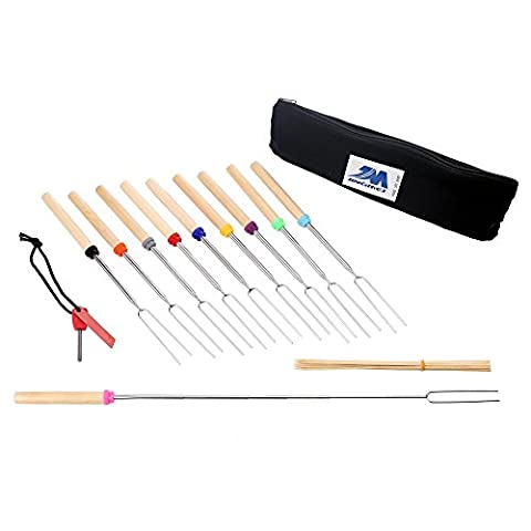 Marshmallow Roasting Sticks, set of 10 Telescoping Smores Skewers 32 Inch-Free Fire Starter,Cleaning Cloth