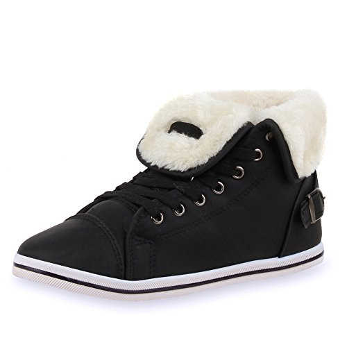 Warm Gefütterte Damen Sneakers Low Schnallen Zierknöpfe Damen SNEAKERS SCHWARZ ALL 39
