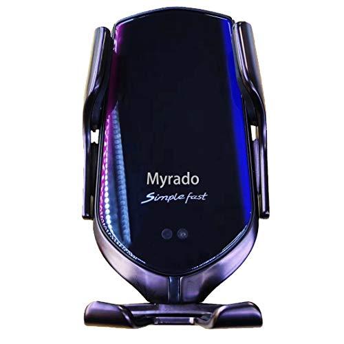 Myrado Caricabatteria per Auto Wireless Qi - Supporto da Auto per Ricarica Wireless, Superficie in Vetro a Specchio, Rotazione a 360 °, compatibilità Universale, Due opzioni di Montaggio (Gunmetal)