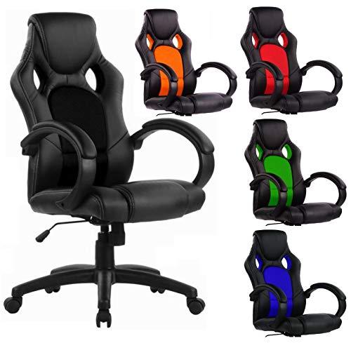 SPS-Racing Exclusiver Racing Bürostuhl Chefsessel Drehstuhl Schreibtischstuhl Gaming Office Chair (schwarz/schwarz)