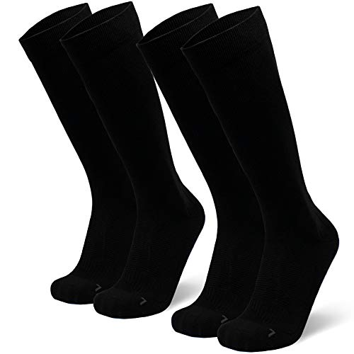 Abgestufte Kompression Socken für Männer & Frauen  EU 43-47 // UK 9-12 Einfarbig Schwarz - 2 Paare