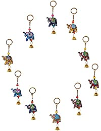 Royal Arts & Crafts Handmade Handicraft Decorative Rajasthani Elephant Designed Key Chain 4 Piece Set Multi-Colored