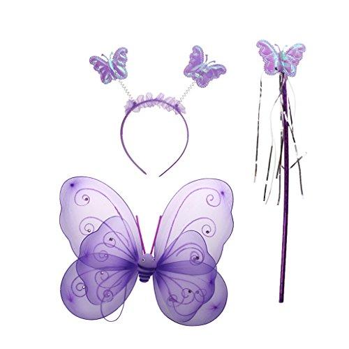 dchenkostüme Schmetterling Kostüm Fee Flügel Stab Stirnband - Lila, one size ()