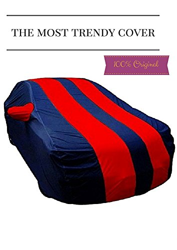 Branded Double Colour Durable Water Resistant Car Body Cover for Mahindra Kuv 100 - Blue and Red - Mirror Pocket