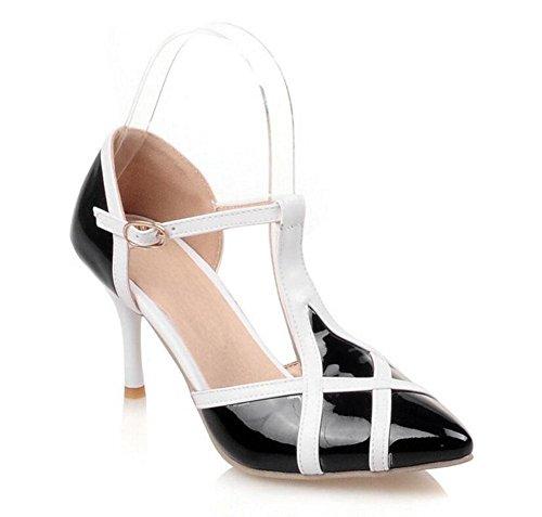 SHINIK Frauen spitzen Zehe T-Strap Pumps Lackleder PU Hit Farbtipp Fine High-Heel Sandalen können angepasst werden 30-48 Special Size Black