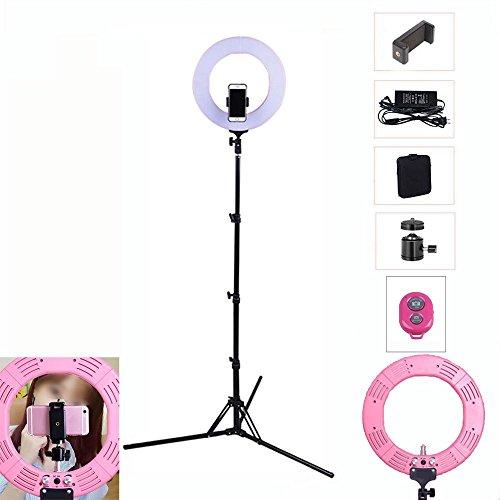 """Mettime 19\""""Outer 14.5\""""Inner 80W 5500K LED Dimmbar Ringlicht Ringleuchte Fluoreszenz Set Beleuchtung Kit mit Lichtstativ Kosmetikspiegel Bluetooth Fernbedienung für Bilden Smartphone Youtube Video Stud , pink , 19 Zoll"""