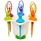 Kkart Plastic Dancing Doll Fruit Fork Cutlery Set With Stand Set Of 6
