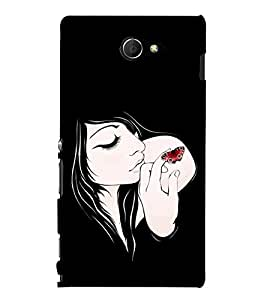 Fabcase A girl with a butterfly on hand Designer Back Case Cover for Sony Xperia M2 Dual :: Sony Xperia M2 Dual D2302