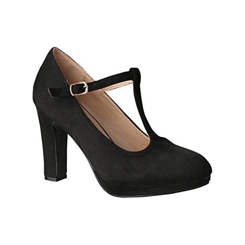Elara Damen High Heels | Bequeme T-Spangen Pumps | Riemchen Vintage | Chunkyrayan | 4685-Black-41