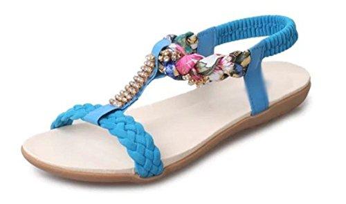 Para Ajudar Sandálias De Verão Abertos Superfície Macia Com O Azul Plana Faculdade Baixos Sandálias Das Mulheres