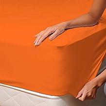 Naranja (Orange) - SoulBedroom 100% Algodón Sábana bajera / 150 x 200 x 30 cm