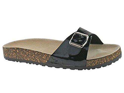 Damen-Sandalen mit bequemem Kork, einzelne Schnalle, Pantoletten, Flip-Flops, Strandschuhe Schwarz