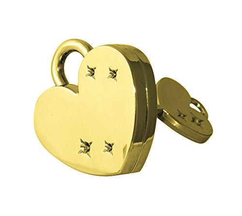 Goldenes Herz Liebesschloss mit Herzschlüssel