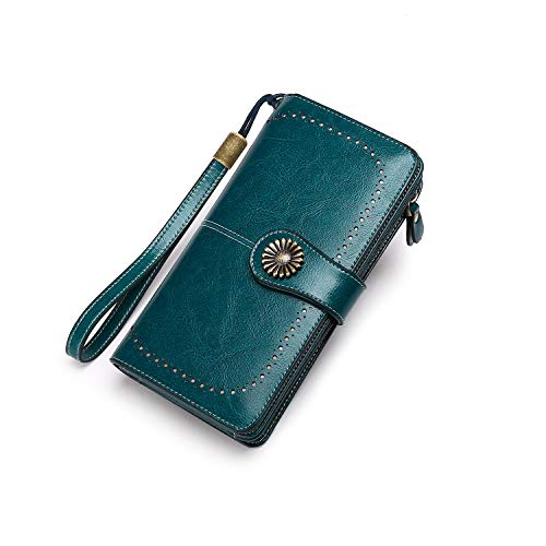 Portafoglio Donna Grande, Portamonete con Cerniera, Portafoglio con Protezione RFID, Porta Carte di Credito Tasche Pelle (Blu)