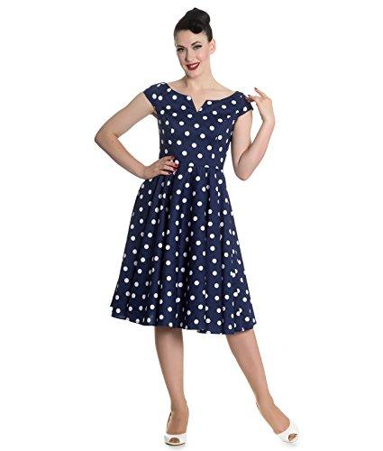 Hell Bunny anni 50 NICKY vintage a pois vestito stile rockabilly Blu