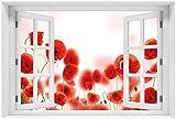 Wallario selbstklebendes Poster - Leuchtende Mohnblumen - Rote Mohnblumenblüten in Premiumqualität, Größe: 61 x 91,5 cm (Maxiposter)