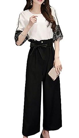 Scothen Femmes 2 pcs dentelle T-shirt + pantalon d'affaires mince pantalon tailleur-pantalon carrière col cravate ajustement costume ensemble