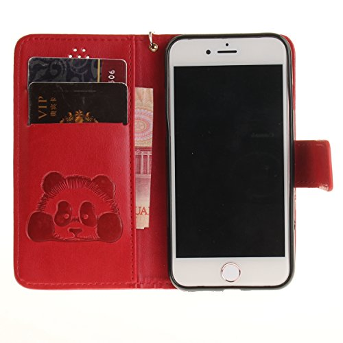 iPhone 7 Hülle,iPhone 7 Wallet Tasche,iPhone 7 Case - Felfy Flip Mappen Kasten Blumen Design Muster Kreative Retro Stil Luxe PU Leder Book Style Magnetic Cover Bookstyle Premium Ledertasche mit Stand- Panda Rote