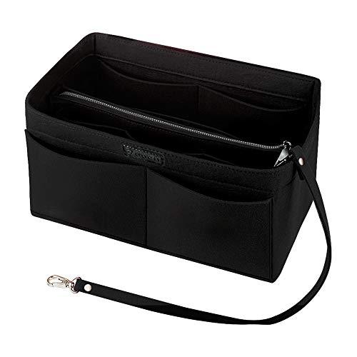 Ropch Handtaschen Organizer für Frauen, Filz Taschen Organisator Tote Organizer Handtaschenordner Bag in Bag Organizer mit Reißverschluss-Tasche, Schwarz - M