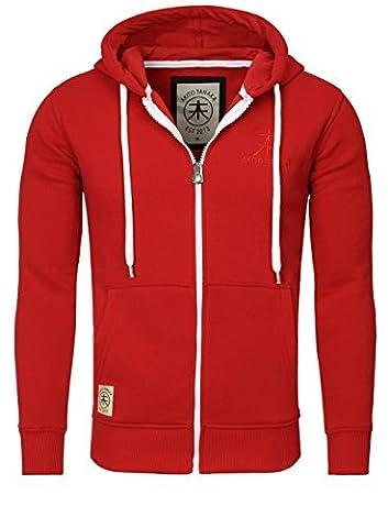 AKITO TANAKA sweat jacket veste blouson sweatshirt sweater 18110 contraste look optik homme capuce, grösse:xl;Farbe:Rouge
