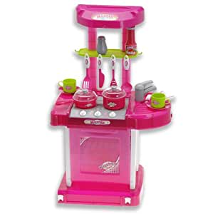 cuisine enfant jouet cuisiniere dinette son lumiere neuf assiette casserole sel jeux. Black Bedroom Furniture Sets. Home Design Ideas