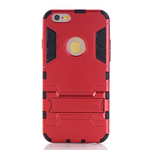 Guran Hülle Für Xiaomi Mi 4i [Stoßfestes Etui] Raffinierte Kombination aus Rutschfestem TPU Zubehör mit Standhalter Ganzkörper-Rugged Case (Rot)