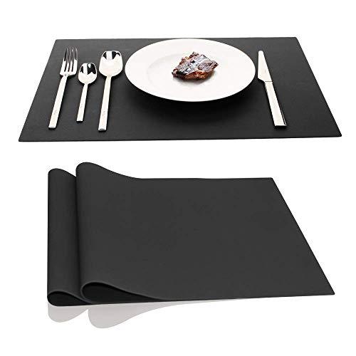 Ainimi tovagliette americana pvc set di 2 tovagliette da tavola lavabili 45 x 32 cm (nero)