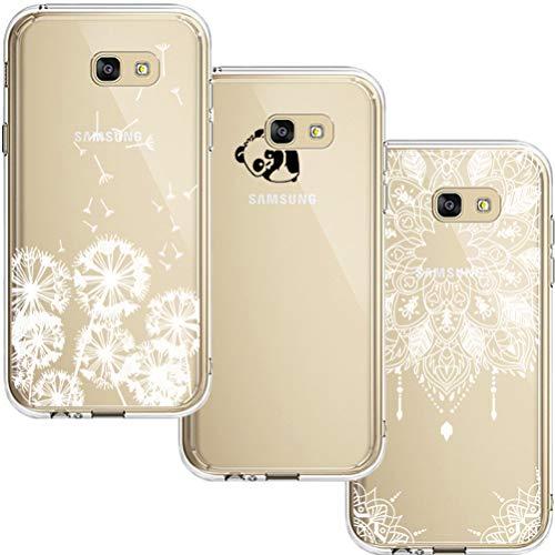 [3 Stück] Samsung Galaxy A5 2017 Hülle, Blossom01 Cute Funny Kreative Cartoon Transparent Silikon Bumper für Samsung Galaxy A5 2017 - Löwenzahn & Panda & Mandala