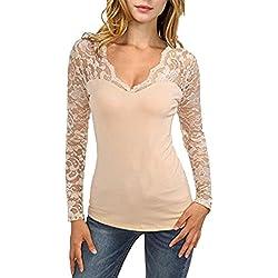 MORCHAN T-Shirt à Manches Longues en Dentelle à Manches Longues pour Femmes(FR-40/CN-M,Kaki)