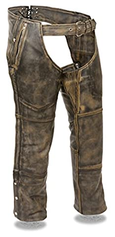 Men's Distressed Brown Leather 4 Pocket Chap w/ Triple Stitch Detailing & Removable Thermal Liner (Harley Davidson Chaps)