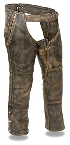 20 Pocket Liner (Men's Distressed Brown Leather 4 Pocket Chap w/ Triple Stitch Detailing & Removable Thermal Liner (XX-Small))