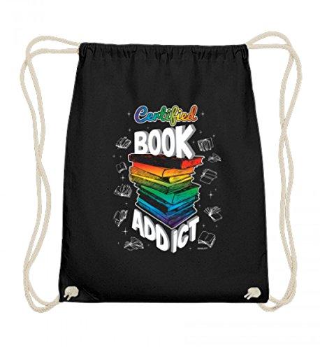 EBENBLATT Hochwertige Baumwoll Gymsac - Certified Book Addict - Buch Bücher Bücherwurm Leseratte Geschenk zum Geburtstag (Addict Hoodie)