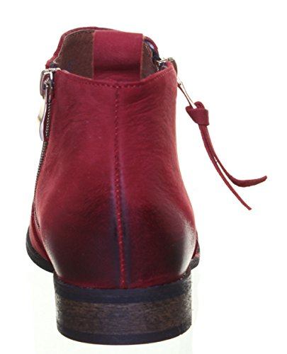Justin Reece pour femme Mesdames cuir Pixie Cheville Bottes Taille 3 4 5 6 7 8 Red FA