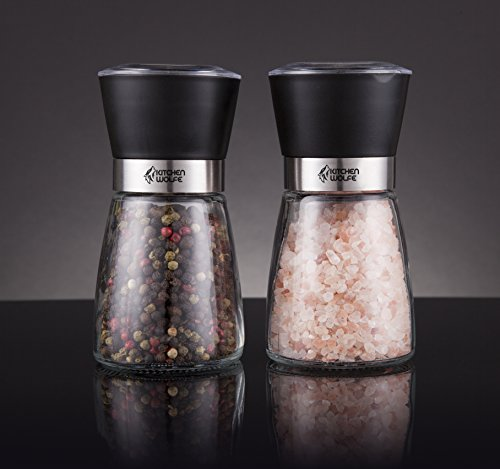 Kitchen Wolfe Glass Salt and Pepper Mills Grinder Set - (2pcs) - Elegant Salt Mill - Pepper Mill - Great for Himalayan Salt - Glass Body with Adjustable Ceramic Grinder - (No Spices included)