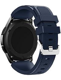 Correas para Samsung Gear S3 Frontier Sannysis Banda de pulsera de silicona deportiva color azul oscuro