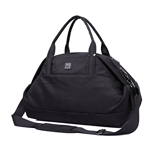 BanGe Duffle Reisetasche Sporttasche Schwarz Rucksack mit Schultergurte Herren Damen,40l (Schwarz)