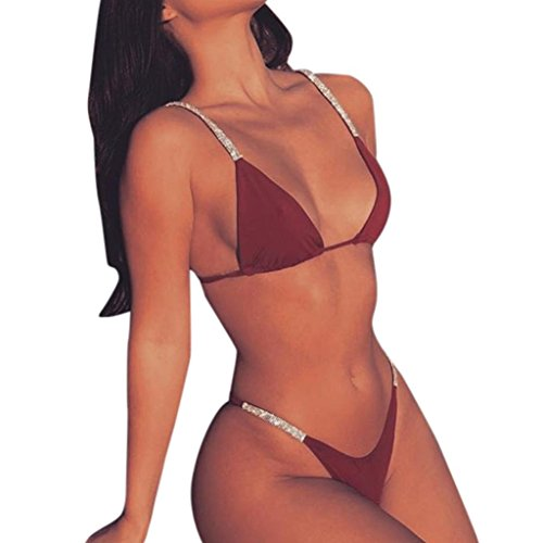 Bling Bling Frauen Solide Bikini Set Push-Up Gepolsterte Bademode Badeanzug Beachwear GreatestPAK Wein M (Star Gay Wars)