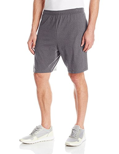 Hanes Men's Jersey Short with Pockets, Charcoal Heather, X-Large -