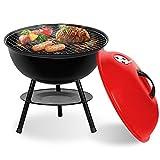 SunJas Barbecue Charbon de Bois BBQ Gril Portable Démontable pour Barbecue extérieur de Jardin Camping et Pique Nique Noir-Rouge