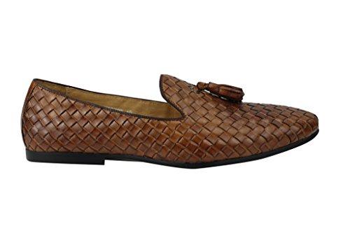 Herren Tan & Dark Navy echtem Korb, geflochtener Leder flach Quaste Slipper Vintage fahren Schuhe Braun