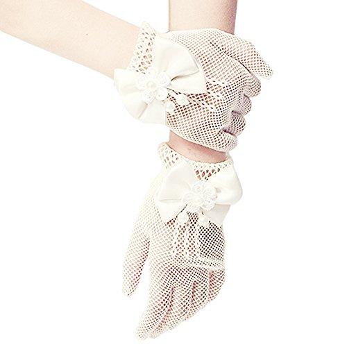 SwirlColor Mädchen Short Elegante Satin-Bogen-Fischnetz-Handschuhe Holes Handgelenk-Länge-Handschuhe für Blumen-Mädchen