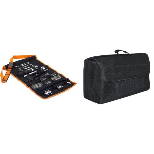 Preisvergleich Produktbild Black + Decker  A7063 76-teiliges Mechaniker-Set, Werkzeug-Rolltasche, mit Tragegurt, Steckschlüssel, Bits und Eufab 21023 Kofferraumtasche, Nadelfilz 50 x 15 x 22 cm, Grau, Klettverschluss