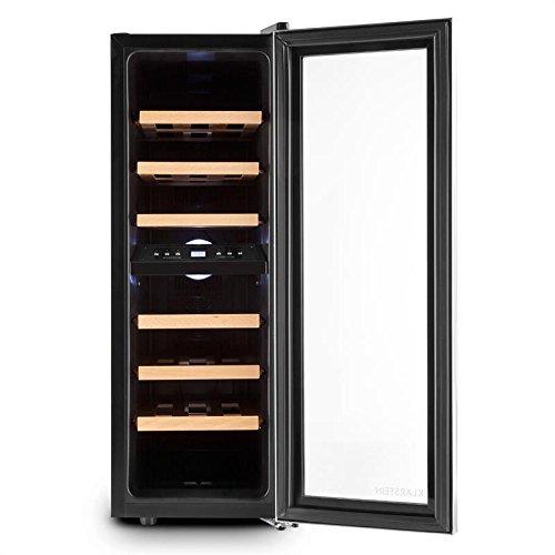 Klarstein Duett 12 • Cave à vin • Deux zones de froid • Six étagères amovibles en bois • Volume 65L • 21 bouteilles standards • Éclairage LED • Écran LCD • Design compact • Faible bruit • Argent-Noir