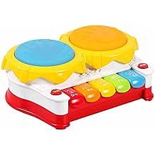 FEI Giocattoli prima infanzia Strumenti musicali per bambini Tamburo a mano Divertente Toddler Toys Musica Set per bambini - Migliora il senso del tatto e dell'udito di tuo figlio Prima educazione