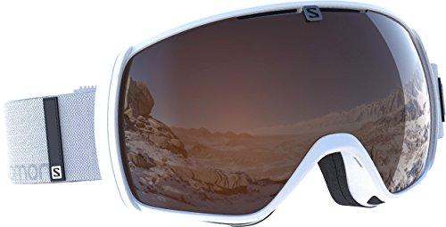 Salomon, maschera da sci unisex, per portatori di occhiali, tempo variabile, visiera arancione (intercambiabile), sistema airflow, xt one access, bianco, l39081000