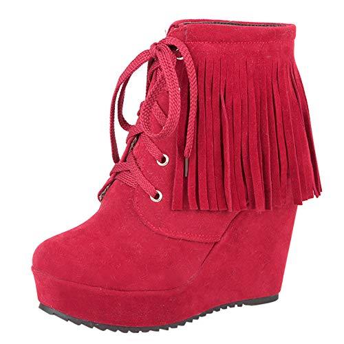 Geili Damen Wildleder Fransen Stiefeletten Keilabsatz Stiefel Kurzschaft Ankle Boots Erhöhung der Höhe Comfort Schuhe Frauen Warme Gefüttert Winterstiefel High Heels Schnürstiefel 36-39 -
