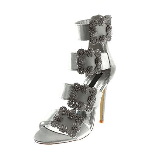 Angkorly Scarpe Moda Scarpe Decollete Sandali con Cinturino Alla Caviglia Stiletto Donna Tanga Fibbia Strass Tacco Stiletto Alto 11 cm Argento