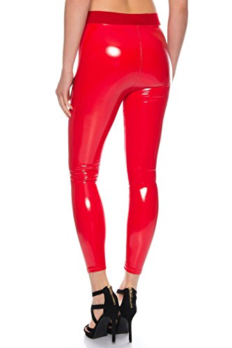 BENK Damen Leder Optik Thermo Hose Legging Leggins Wetlook schwarz Lack  Jeans Jegging (Rot, 44c36bbc22